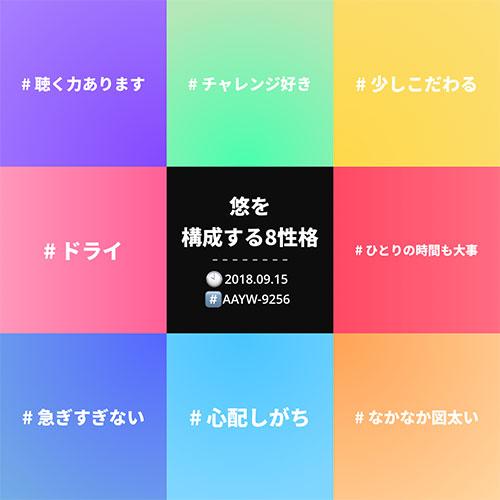 悠を構成する8性格!