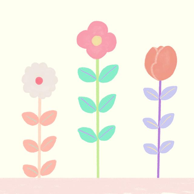 class101、宮下和先生の講座の課題より。最初は色の使い方や簡単な図形から練習しました。